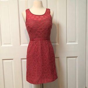 ✨🌸 Two-Tone Pink Lace Dress Tan Lining size 2
